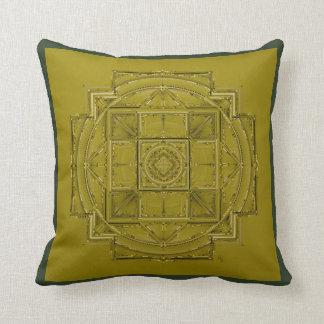 Chartreuse black and white mandala cushion