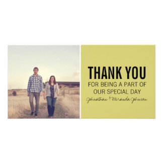 Chartreuse & Black Photo Thank You Cards Customized Photo Card