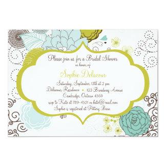 Chartreuse & Blue Floral Bridal Shower Invitation