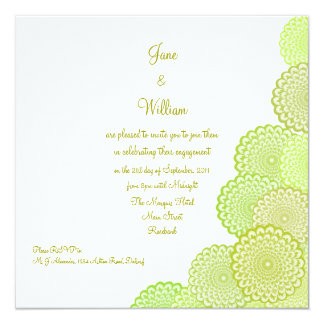 Chartreuse Green Flowers Engagement Shower Card
