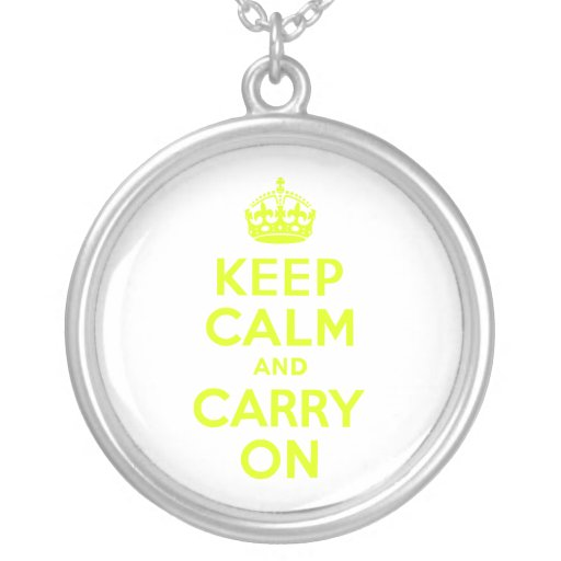 Chartreuse Keep Calm and Carry On Jewelry