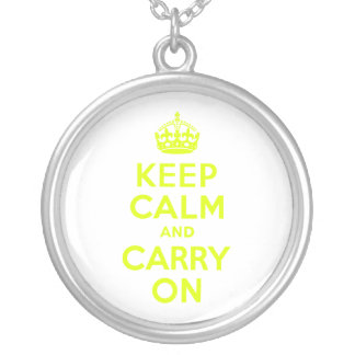 Chartreuse Keep Calm and Carry On Round Pendant Necklace