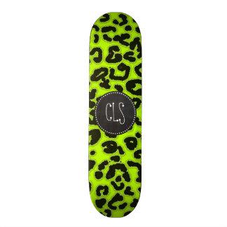 Chartreuse Leopard Animal Print; Chalkboard look Custom Skateboard
