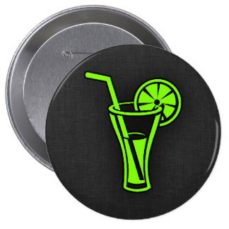 Chartreuse, Neon Green Cocktail 10 Cm Round Badge