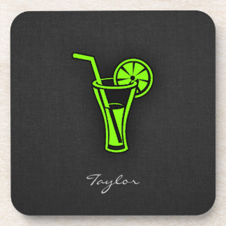 Chartreuse, Neon Green Cocktail Beverage Coaster