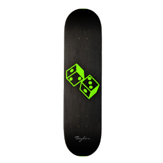 Chartreuse Neon Green Dice Skateboard Deck