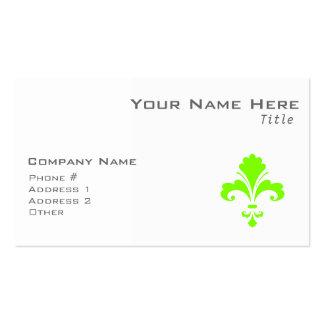 Chartreuse Neon Green Fleur de lis Business Card Templates