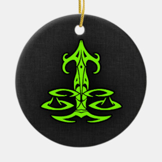 Chartreuse, Neon Green Libra Double-Sided Ceramic Round Christmas Ornament