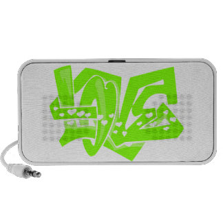 Chartreuse, Neon Green Love Graffiti Laptop Speaker