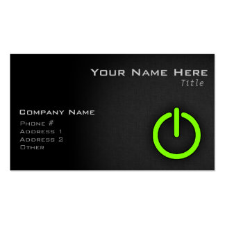 Chartreuse, Neon Green Power Button Business Cards