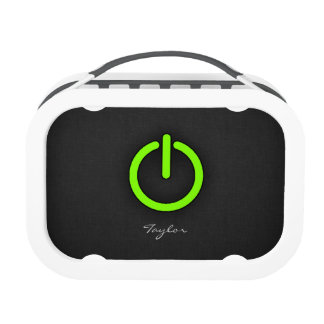 Chartreuse, Neon Green Power Button Lunchboxes