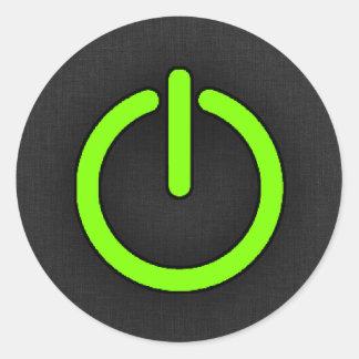 Chartreuse, Neon Green Power Button Round Sticker