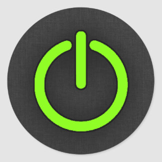 Chartreuse, Neon Green Power Button Classic Round Sticker