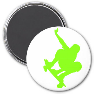 Chartreuse, Neon Green Skater Refrigerator Magnets