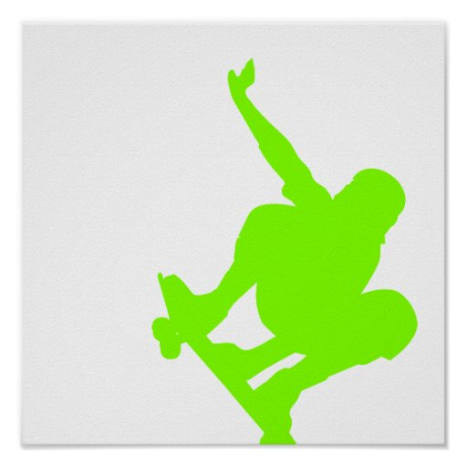 Chartreuse, Neon Green Skater Posters