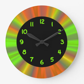 Chartreuse Numbers Black Circle Wall Clocks