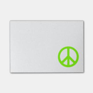 Chartreuse Peace Symbol Sticky Note