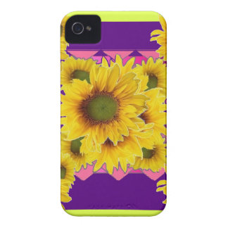 Chartreuse-Purple Floral Sunflower GIFTS iPhone 4 Cover
