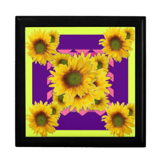 Chartreuse-Purple Floral Sunflower GIFTS Large Square Gift Box