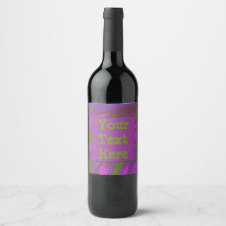 chartreuse purple Modern Swish Abstract Wine Label