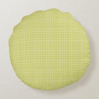 Chartreuse-Royalty-Plaid's-Traditional-Snuggle- Round Cushion