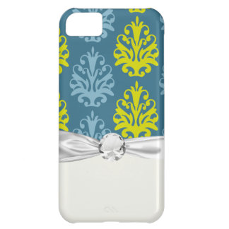 Chartreuse slate blue teal damask iPhone 5C case