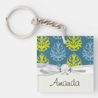 Chartreuse slate blue teal damask Double-Sided square acrylic keychain