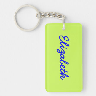 Chartreuse Solid Color Double-Sided Rectangular Acrylic Key Ring