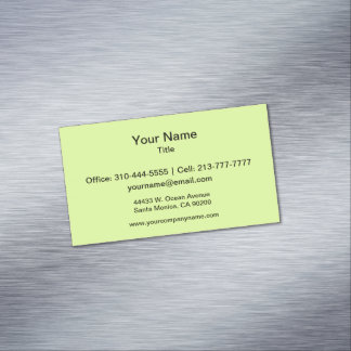 Chartreuse Solid Color Magnetic Business Cards