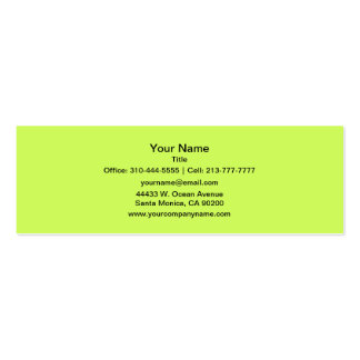 Chartreuse Solid Color Pack Of Skinny Business Cards