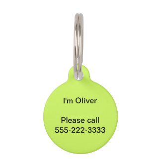 Chartreuse Solid Color Pet ID Tags