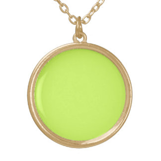 Chartreuse Solid Color Round Pendant Necklace