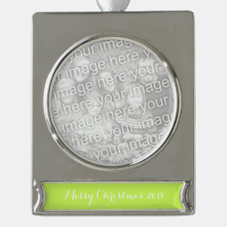 Chartreuse Solid Color Silver Plated Banner Ornament