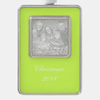 Chartreuse Solid Color Silver Plated Framed Ornament
