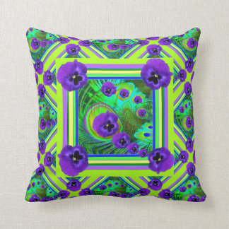CHARTREUSE SPRING GREEN PURPLE PANSY FLORAL CUSHION