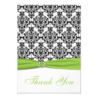 Chartreuse, White, Black Damask Thank You Card 13 Cm X 18 Cm Invitation Card