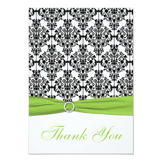 Chartreuse, White, Black Damask Thank You Card Invite