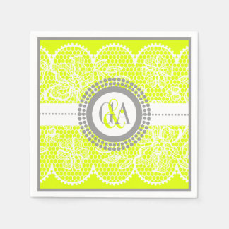 Chartreuse, white lace pattern wedding disposable serviettes