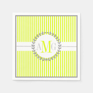 Chartreuse, white striped pattern wedding paper napkin