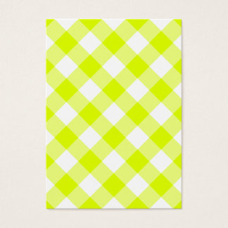 Chartreuse Yellow Gingham Business Card