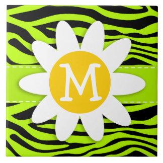 Chartreuse Zebra Stripes Animal Print; Daisy Tiles