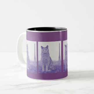 Chartreux Cat in Paris Two-Tone Coffee Mug