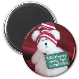 Chase the Snowflakes 6 Cm Round Magnet