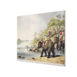 "Chasing a Tiger across a River, from ""Oriental Fie Stretched Canvas Prints"