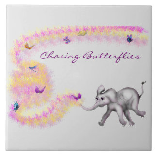 Chasing Butterflies by The Happy Juul Company Ceramic Tile