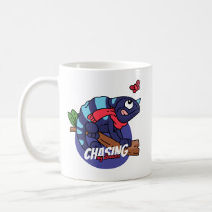 chasing your dream with a funny cartoonish graphic coffee mug
