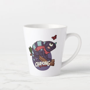 chasing your dream with a funny cartoonish graphic latte mug