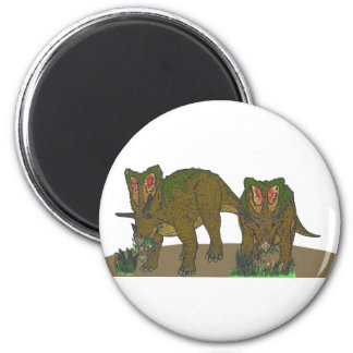 Chasmosaurus browsing 6 cm round magnet