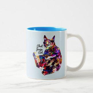 Chat Art mag 2 handle cat art magnet Two-Tone Coffee Mug