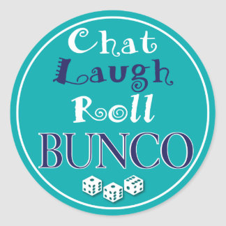 chat,laugh,roll - bunco classic round sticker